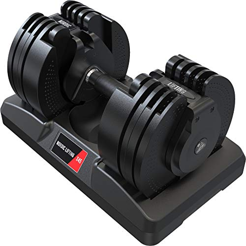 Adjustable Dumbbell 45lbs with Interchangeable Dial - Home Gym Space-Saver...