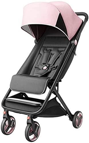 Cochecitos ligeros, cochecito de bebé plegable con barra de extracción para sentarse y mentir, desde el nacimiento hasta los 3.5 años. (Color : Pink)