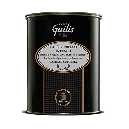 CAFES GUILIS DESDE 1928 AMANTES DEL CAFE Café molido 100% Arábica - Blend Espresso Intenso de Calidad Suprema – Lata 1 Kg