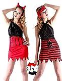 Desconocido Disfraz reversible de pirata y demonio para mujer