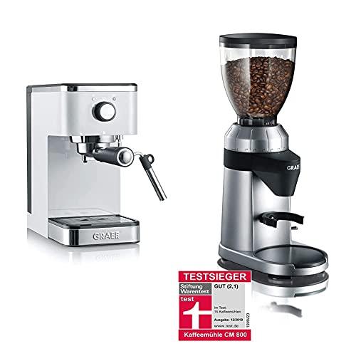 Graef ES401EU Salita Siebträger-Espressomaschine, 1400, weiß & Graef Kaffeemühle CM 800