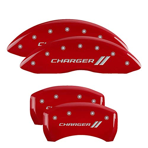 MGP Caliper Covers 12181SCH1RD 'Charger ll' Engraved Caliper Cover with Red Powder Coat Finish and Silver Characters, (Set of 4)