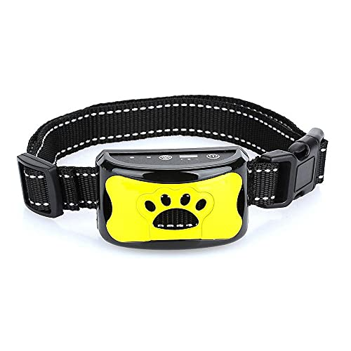 Antibell Halsband Hund, Wiederaufladbares No Harm Erziehungshalsband Hund mit Vibration, Sound und No-Schock für Kleine Mittelgroße Hunde (Gelb)