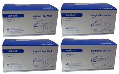 100 Stück Wellead®-Einmalmasken, nach EN14683 Typ IIR (flüssigkeitsresistenter Typ) 2 Boxen á 50 Stück, Mundschutz, Gesichtsmasken, Atemschutz, Atemmaske, Hygienemasken, Schutzmasken, Einwegmaske