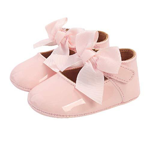Neonata Scarpe-Scarpe Principessa Bowknot Primi Passi per Bambina Ballerine Neonata con Suola Morbida Antiscivolo (0-6 mesi, Rosa)