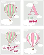 Boys & Girls Personalized Unframed Prints Wall Decor - Hot Air Balloon Art for Nursery & Playrooms - Oh The Places You'll Go Rhyme - Great Baby Shower Present - Choose from Designer Colors & Sizes