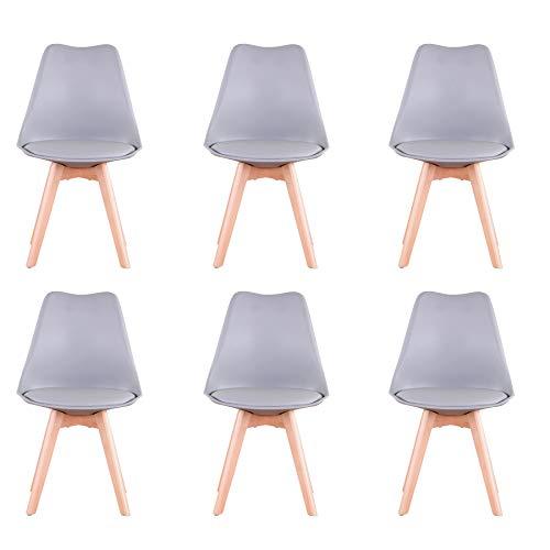 BenyLed - Juego de 6 sillas de comedor de tulipán con asiento tapizado y patas de madera de haya, ideal para comedor, cocina, salón, dormitorio, color gris