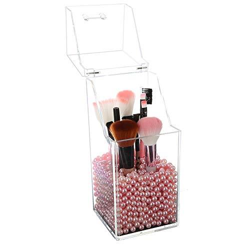 Qi Peng Acrylique Maquillage Brosse Tube Beauté Brosse Seau Boîte De Rangement Flip Dust Lèvre Glaçure Barrel Rack Dortoir (Couleur : Rose, Edition : A)