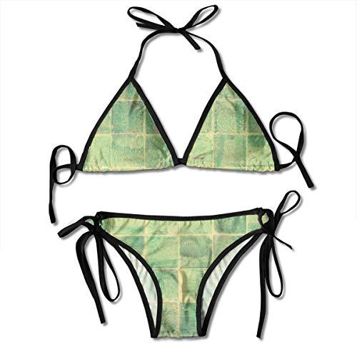 Badkamer Tegel Decoratie Ontwerp Oude Patroon Vrouwen V-draad Gewatteerde Geribbelde Gesneden Cami Bikini Set Twee Stuk Badpak Gepersonaliseerd