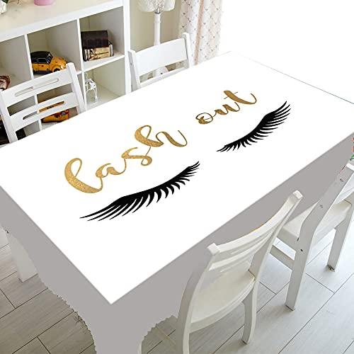 XXDD Elegante Mantel con Logotipo de extensión de pestañas con Purpurina Dorada, Cubiertas de Mesa de pestañas de Maquillaje para salón de Belleza Deco A6 150x210cm