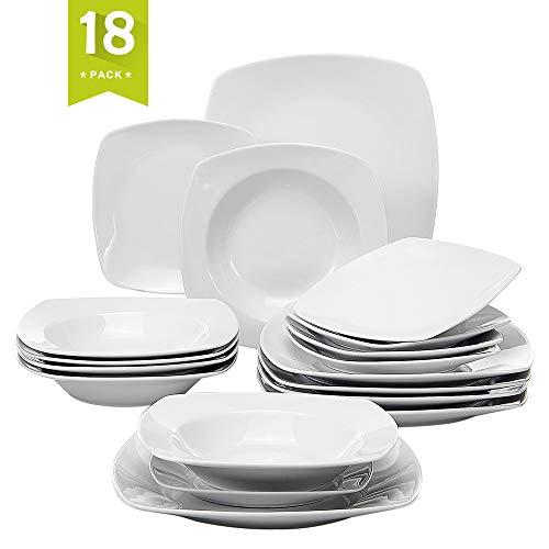 MALACASA, Serie Julia, 18 TLG. Set CremeWeiß Porzellan KLEIN Geschirrset Tafelservice 6 Stück Kuchenteller, 6 Stück Flachteller mit 6 Stück Suppenteller für 6 Personen