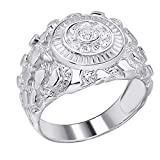 Men's Nugget Ring - Solid 925 Sterling Silver Ring - Iced Micropave Cluster Ring Sizes 6-13 - Great As Pinky Ring (11)