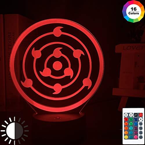 Japanischer Anime Naruto Rinnegan Sharingan Cooles Nachtlicht 3D LED Tischlampe Kinder Geburtstagsgeschenk Nachtzimmer Dekoration