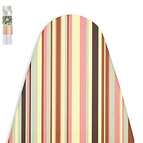 Encasa Homes Replacement Ironing Board Cover with Extra Thick Pad, Made in India, Standard (Fits Wide Boards 18 x 49 inch) Elasticated, Scorch Resistant, Durable - Multistripe