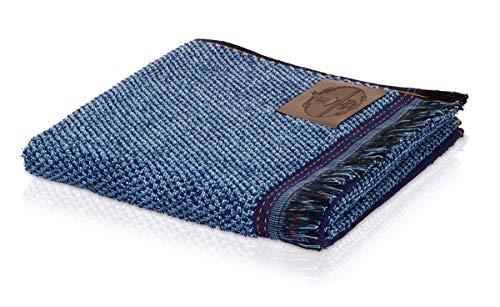 möve Denim Handtuch Perlstruktur mit Fransen 50 x 100 cm aus 100 % Baumwolle, denim