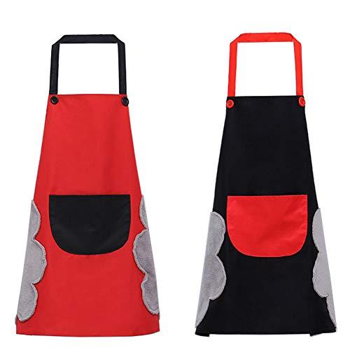 Latzschürze mit großer Tasche, geeignet zum Kochen, Hausarbeit, Grillen, für Männer, Frauen, Koch, Schwarz und Rot, 2 Stück