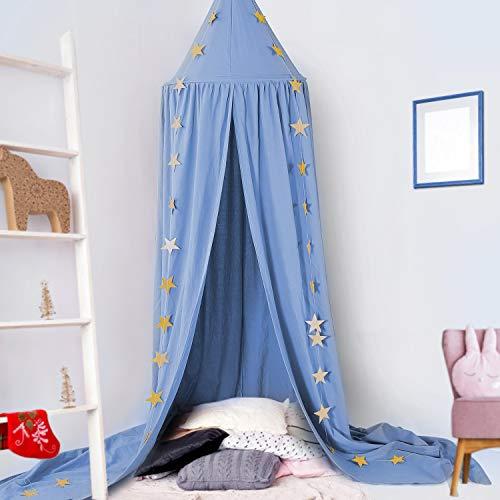 Baby Baldachin, Betthimmel Kinder, Ceekii Babys Bett Kinderzimmer Bettvorhang Baumwolle Deko Moskitonetz für Prinzessin Spielzelte Babybett & Schlafzimmer Dekoration mit Sternengirlande (Blau)