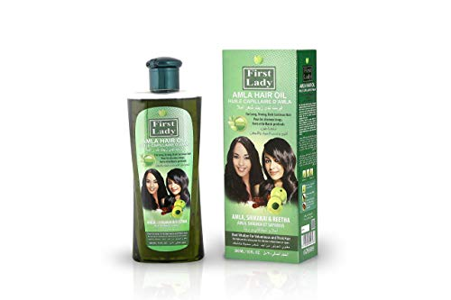 First Lady Herbal AMLA (Indian Gooseberry) Hair Oil 300ml - For Long, Strong, Dark Lustrous Hair - With Shikakai & Reetha - For All Hair Types