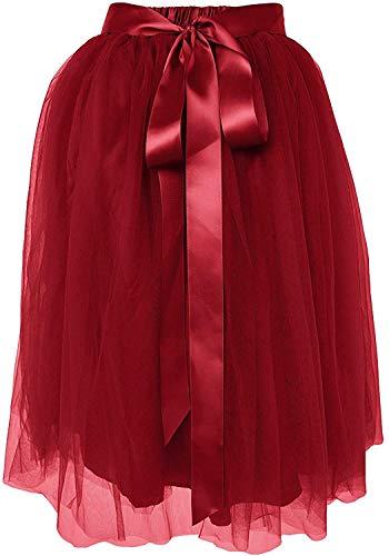 Dancina Women's Knee Length Tutu A Line Layered Tulle Skirt Regular (Size 2-18) WineRed