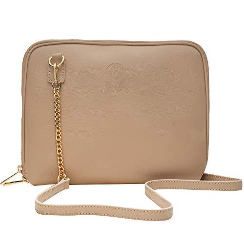 ROSA LOU FIRENZE Echtes Leder Damen Tasche - Kleine Umhängetasche für Tag und Abend - Umhängetasche mit Kette - Made in Italy (Taupe)
