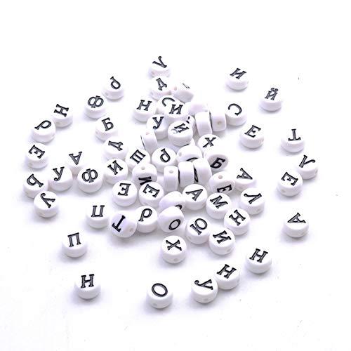 YJYJ Letras Rusas Alfabeto Redondo Blanco Acrílicos 4 * 7mm Accesorios De Joyería De Bricolaje 100pcs