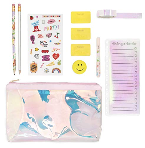 Ban.do Ultimate Planner Pack | Pencil Pouch with Stickers, Paper Tape, Pencils, and More | Pearlescent