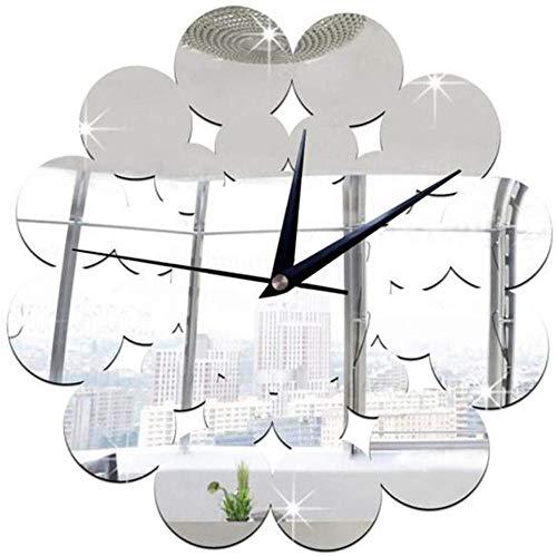 Clode Design moderno unico Home Office Decorazione 3D Senza cornice DIY Grande adesivo da parete Orologio Effetto specchio Applique Decorazioni per la casa Set di motivi per finestre in vetro acrili