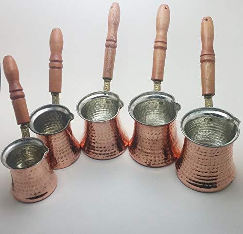 asx kombinowany ekspres do kawy turecki dzbanek do kawy, ręcznie młotkowany miedziany ekspres do kawy, drewniane garnki do kawy (rozmiar: L)
