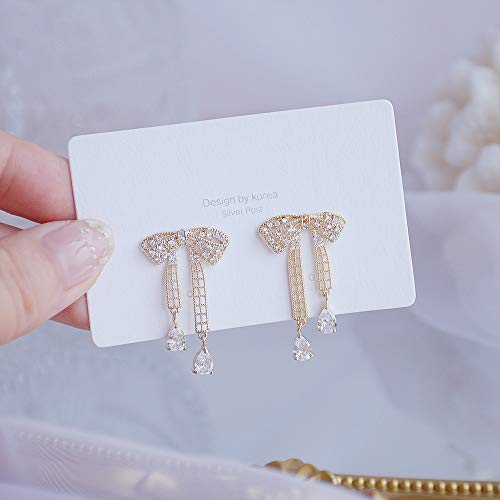 wangk Luxury 14K Real Gold Plated Leaves Earring Delicate Micro Inlaid Stud Earrings Wedding Jewelry Pendant Bowknotstyle