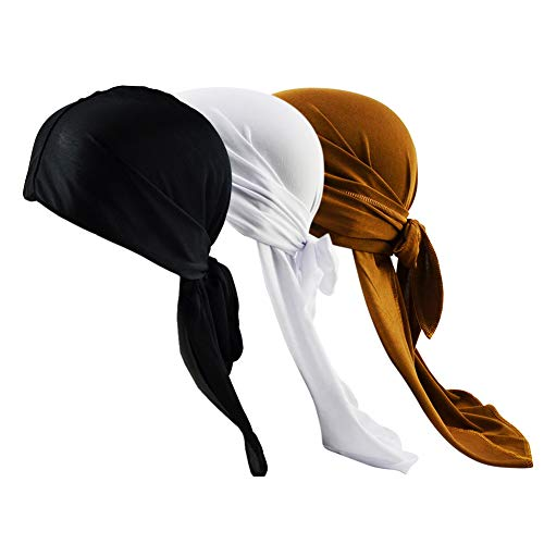 Silky Durags for Men//Womens Waves Cap,3 Pack Fashion Extra Long-Tail Headwraps Pirate Cap 360 Waves Durag DUR4