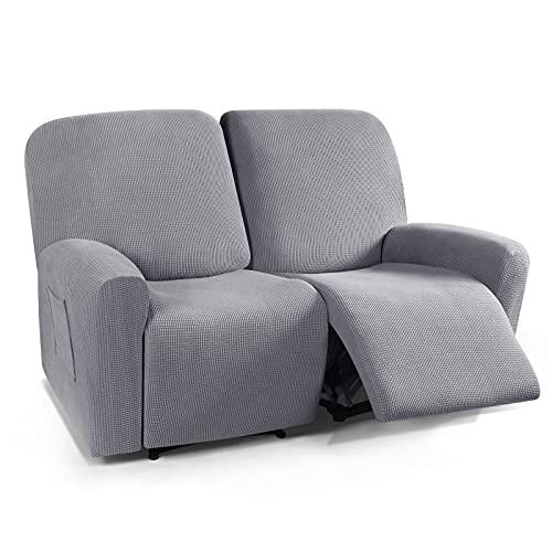 TAOCOCO - Funda reclinable para sofá reclinable de 2 plazas, 6 piezas, doble funda para sofá reclinable de 2 asientos, patrón jacquard suave, elástico, protector de muebles con elasticidad gris polvo