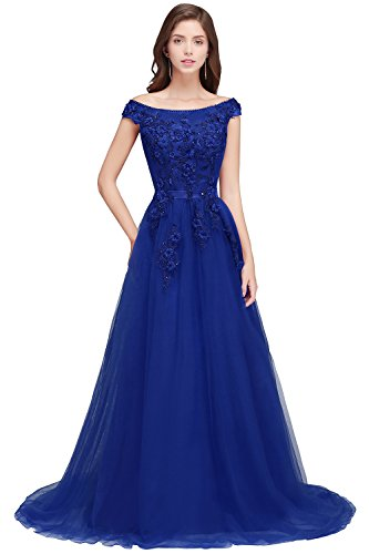 MisShow Damen Prinzessin A-Linie Tüll Brautkleid Hochzeitskleid Applique Bodenlang Wein Rot 32