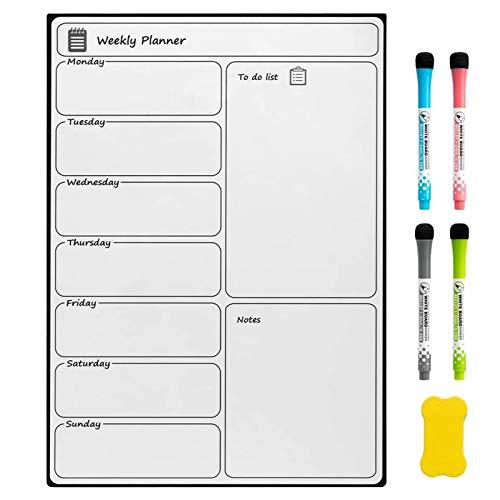 DOEWORKS Lavagna bianca magnetica per frigorifero, agenda settimanale Memo Board A3 con 4 pennarelli, 1 gomma, magnete a secco, lavagna frigo per cucina