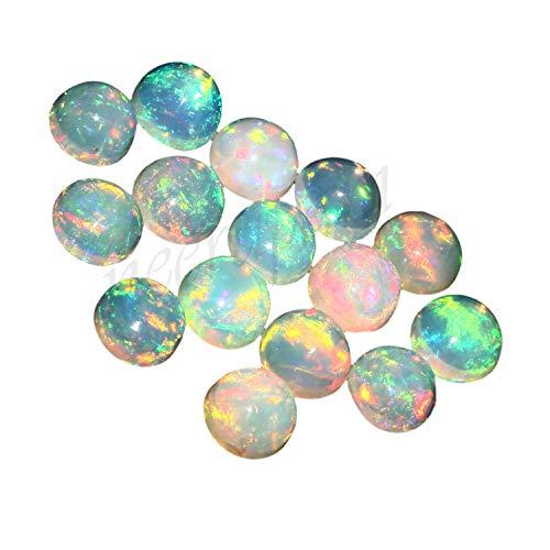 Natural Blanco welo fuego calidad AAA ópalo etíope de 2.5 mm de forma redonda cabujón calibrado tamaño de la piedra preciosa floja | Natural de Etiopía welo ópalo para la fabricación de joyas
