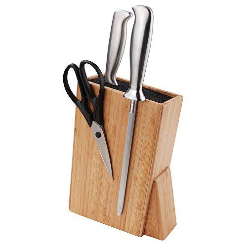 eKitch, blocco/ceppo universale porta coltelli - ideale per coltelli d'acciaio e di ceramica (rosso)
