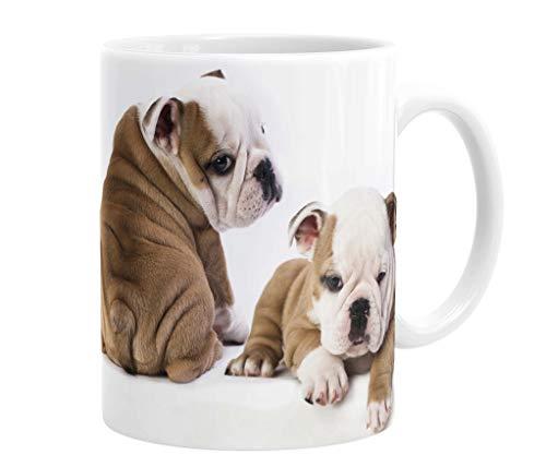 Merchandise for Fans Becher aus Keramik - 330 ml Motiv: Englische Bulldogge zwei niedliche Welpen und Spruch I love my dog (07)