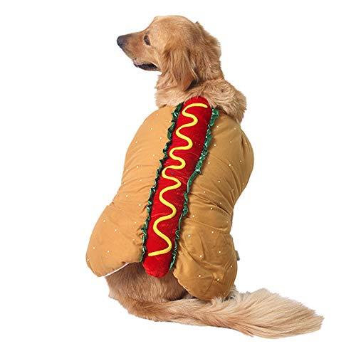 hefeibiaoduanjia, Costume Divertente per Hamburger Hot Dog Gatto, Cane, Cappotto, Abbigliamento per Natale, Halloween, Cosplay, Festival