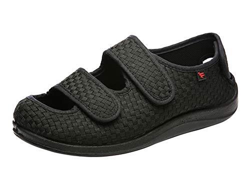 Insun Unisex Erwachsene Hausschuhe Extra Breite Diabetiker Schuhe Klettverschluss Freizeitschuhe Geschlossene Sandalen Schwarz 43 EU