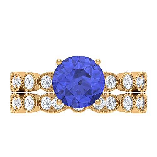 Conjunto de anillos de boda solitario, piedras preciosas redondas de 2,93 quilates, D-VSSI Moissanite 8 MM Tanzanita, anillo de compromiso francés de oro, 10K Oro amarillo, Size:EU 68