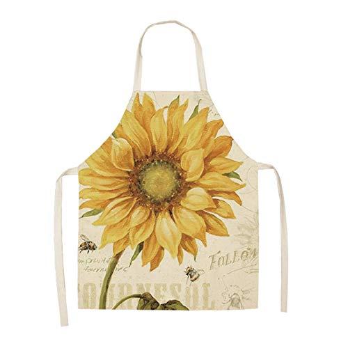 Xunsdzsw Apron 1 Pcs Retro Flower Pattern Kitchen Apron for Woman Sleeveless Cotton Linen Aprons (Color : 8, Size : 66x47cm)