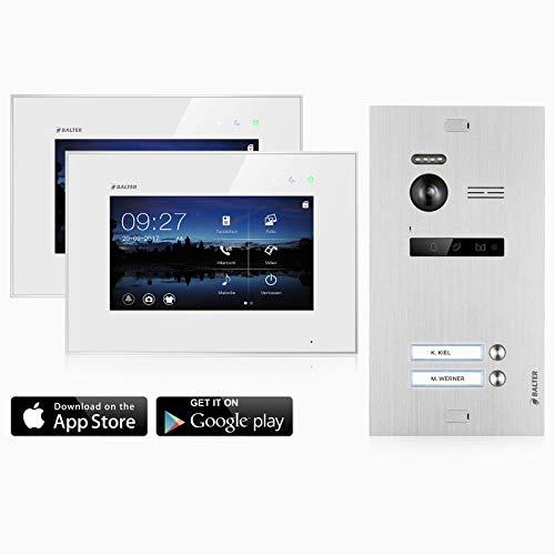 BALTER EVO Video Türsprechanlage ✓ Touchscreen 7 Zoll Monitor ✓ Türstation für 2 Familienhaus Türklingel ✓ Smartphone App ✓ 2-Draht BUS ✓ 150° Weitwinkel-Kamera