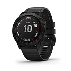 Best GPS map watch for hiking , running and outdoor exploration - Garmin Fenix 6X Sapphire, Premium Multisport GPS Watch, Features Mapping, Music, Grade-Adjusted Pace Guidance and Pulse Ox Sensors, Dark Gray with Black Band