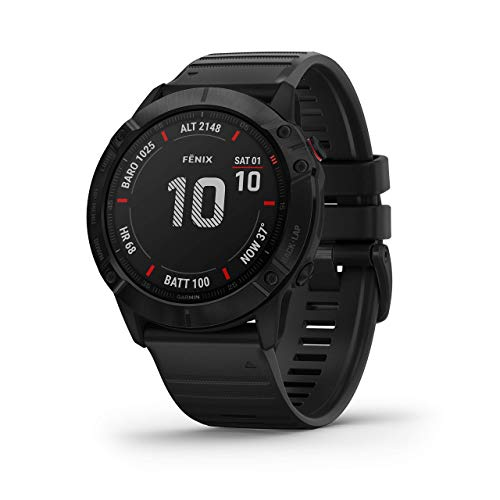Garmin Fenix 6X Sapphire, Premium Multisport GPS Watch, Features Mapping, Music, Grade-Adjusted Pace Guidance and Pulse Ox Sensors, Dark Gray with Black Band (Renewed)