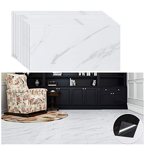 VEELIKE Autoadhesivo baldosas de mármol Blanco Adhesivo para Piso Adhesivo para Piso renovación de Piso Adhesivo para Dormitorio baño Impermeable 30 cm × 60 cm 12 Piezas