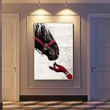 SADHAF Moderne Brun Cheval Et Main Affiche Mur Art Imprimer Toile Peinture Imprimer Salon Maison Intérieur A4 60x80 cm