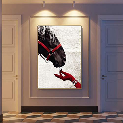 tzxdbh Modern Luxueus Bruin Paard Posters Prints Muurkunst Canvas Schilderen POP Foto's voor Woonkamer Huis Interieur Decor-in Schilderij & Kalligrafie van omhoog 13x18 cm no frame Picture a