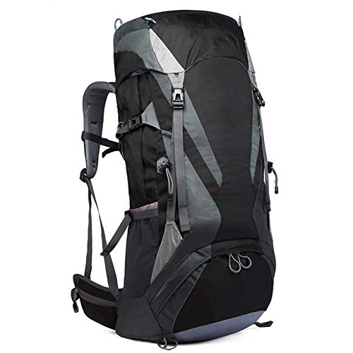 Men's Sports Outdoor Backpack 65L Mountaineering Bag with Rain Cover Mountaineering Backpack,black