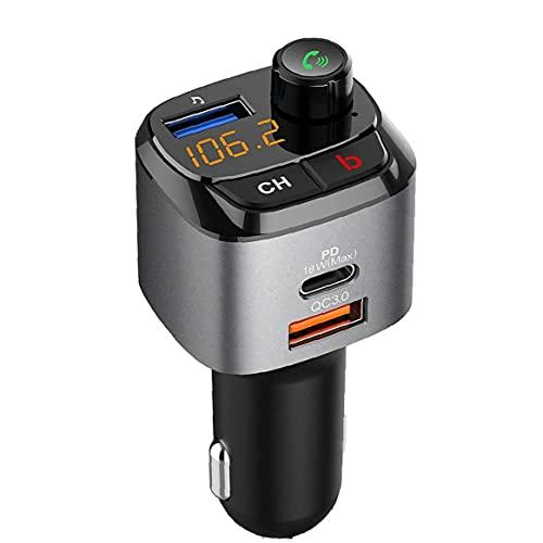 Cargador del Adaptador de Radio inalámbrica Transmisor FM con Reproductor de música con Llamadas Manos Libres Bass Booster 3 Puertos USB 5.0 Aplicación en la práctica Funcional