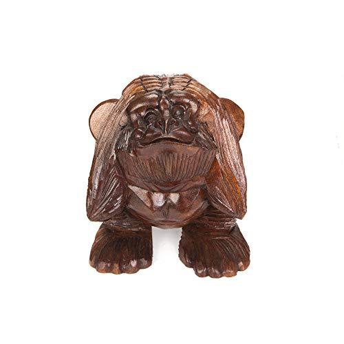Orient Express - Figura decorativa de gorila (Kikazaru), figura de gorila de madera, producto hecho a mano