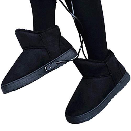 Scarpe riscaldanti USB Riscaldamento Elettrico Pantofole Riscaldate in Peluche, scaldapiedi Antiscivolo con Temperatura Intelligente, Scarpe per Il Freddo Invernale, Donna
